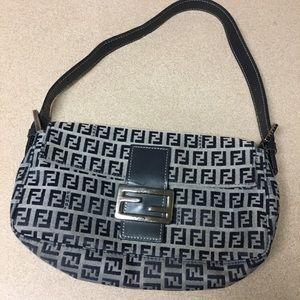Vintage Fendi Zucchino baguette navy purse 282434